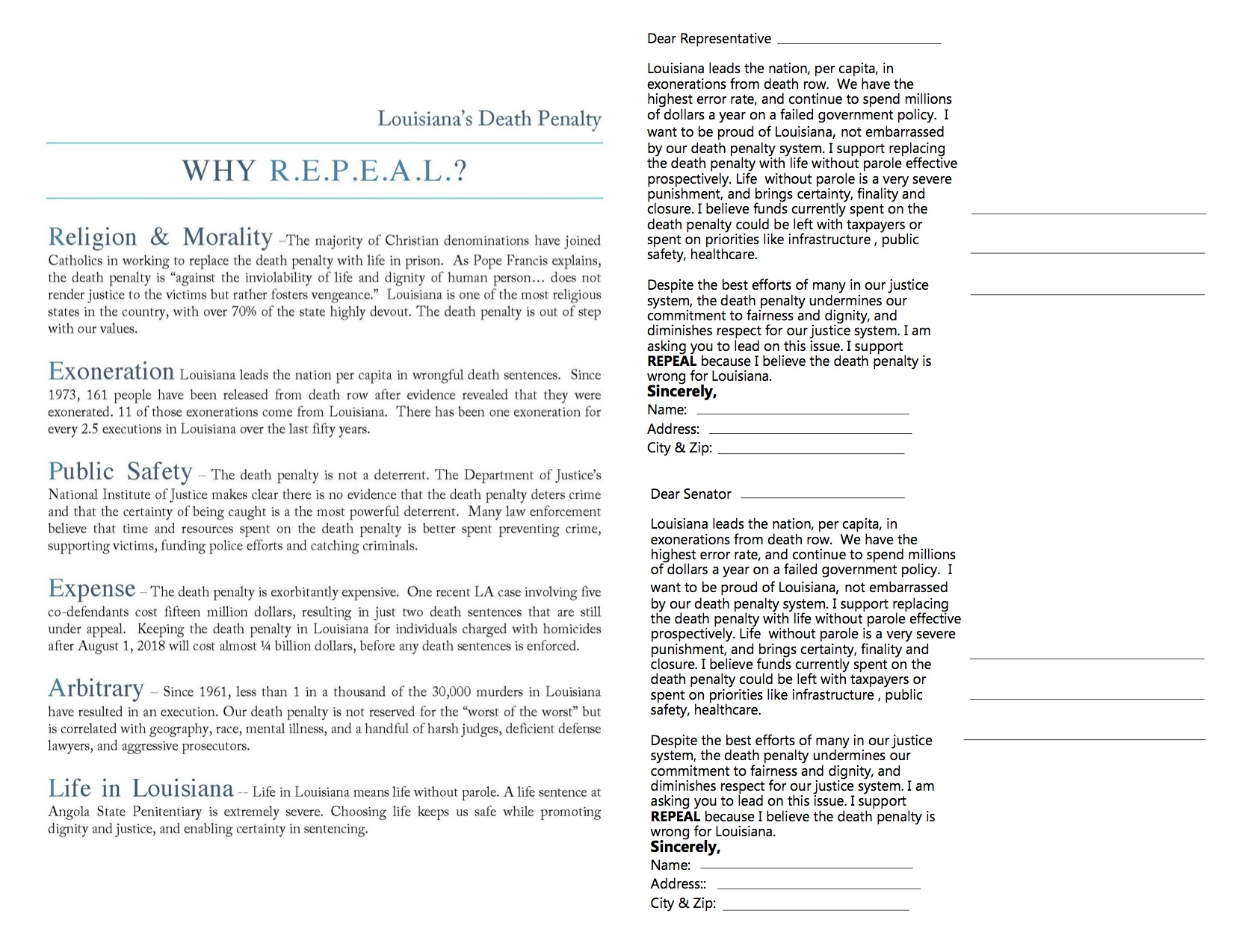 Postcard action to elected officials – LA Repeal